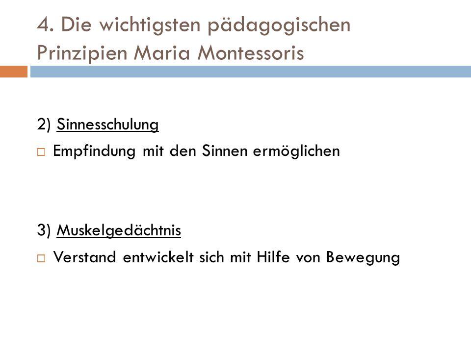 4. Die wichtigsten pädagogischen Prinzipien Maria Montessoris