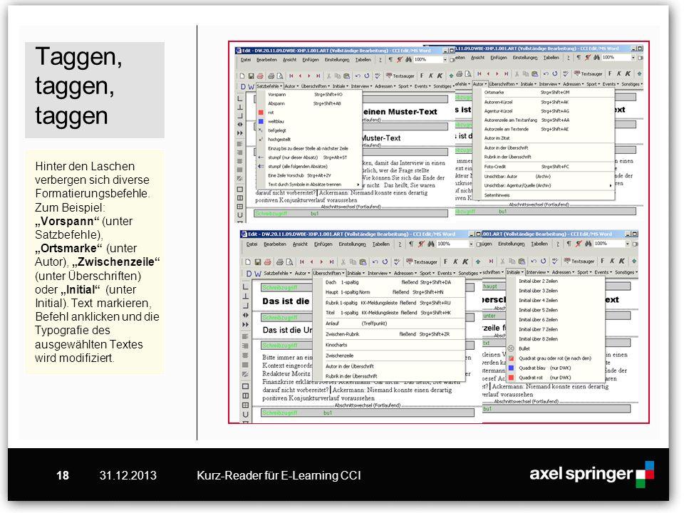 """Taggen, taggen, taggen Hinter den Laschen verbergen sich diverse Formatierungsbefehle. Zum Beispiel: """"Vorspann (unter Satzbefehle), """"Ortsmarke (unter Autor), """"Zwischenzeile (unter Überschriften) oder """"Initial (unter Initial). Text markieren, Befehl anklicken und die Typografie des ausgewählten Textes wird modifiziert."""