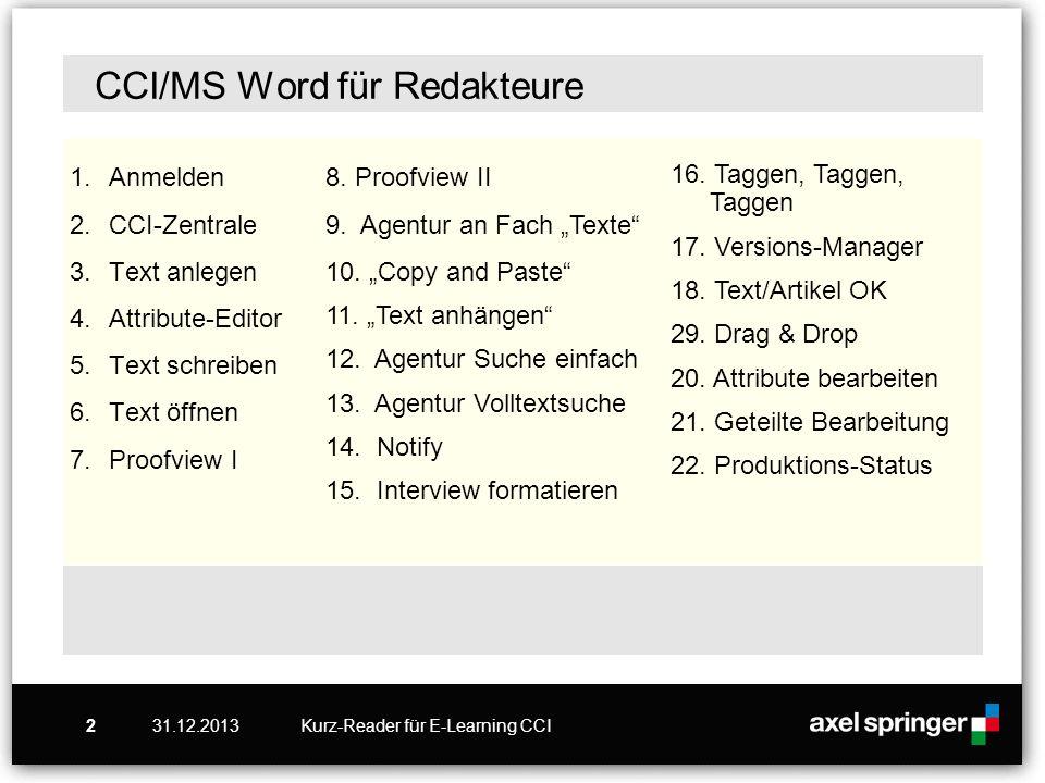 CCI/MS Word für Redakteure