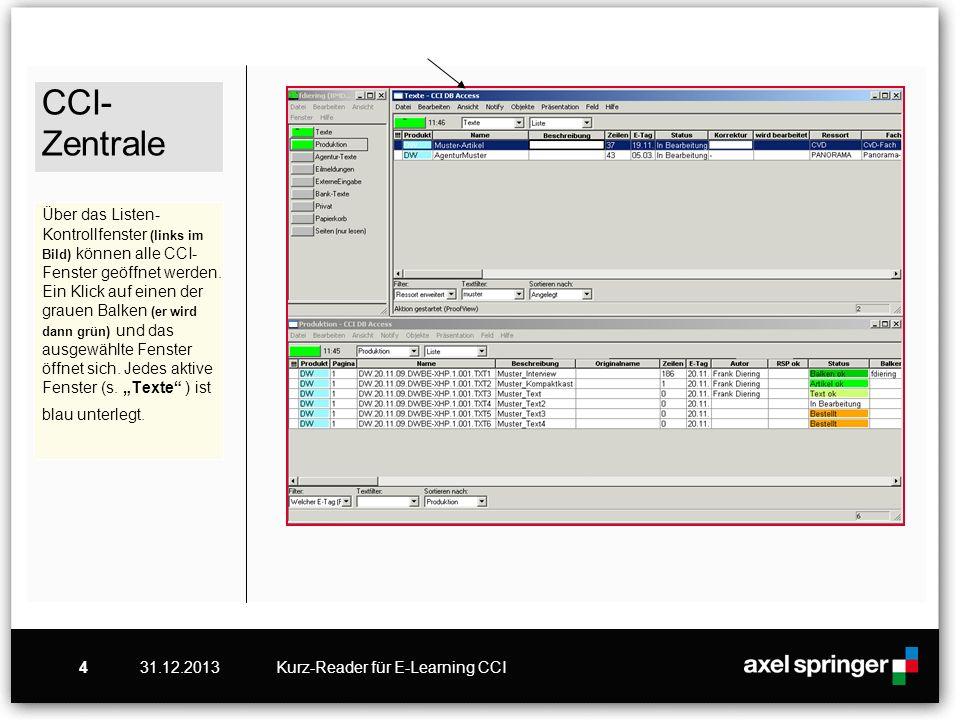 """CCI-Zentrale Über das Listen-Kontrollfenster (links im Bild) können alle CCI-Fenster geöffnet werden. Ein Klick auf einen der grauen Balken (er wird dann grün) und das ausgewählte Fenster öffnet sich. Jedes aktive Fenster (s. """"Texte ) ist blau unterlegt."""