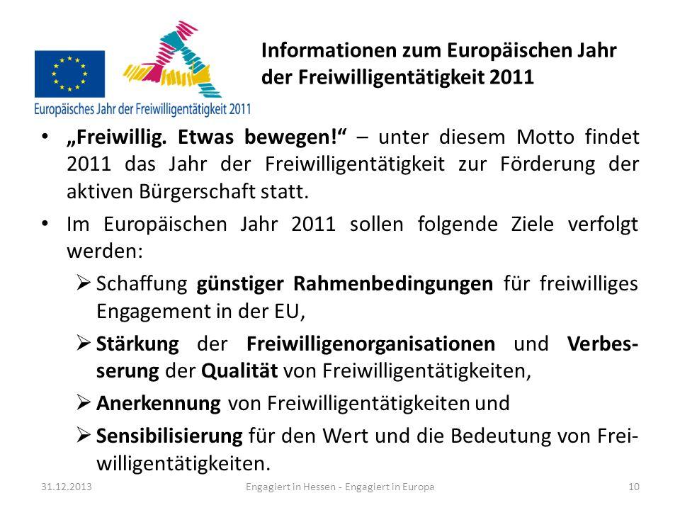 Informationen zum Europäischen Jahr der Freiwilligentätigkeit 2011