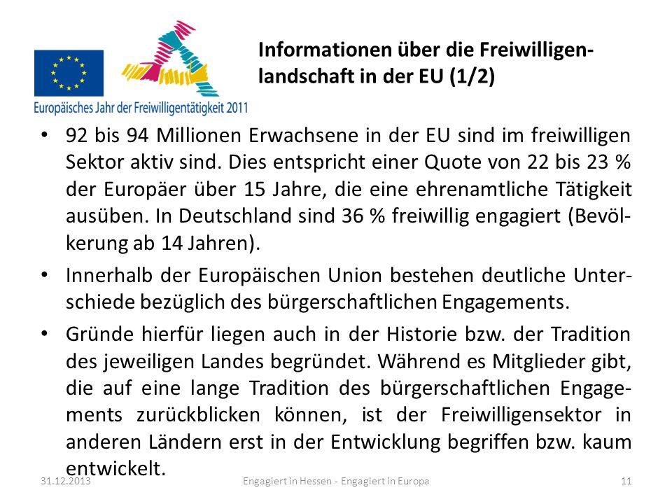 Informationen über die Freiwilligen-landschaft in der EU (1/2)