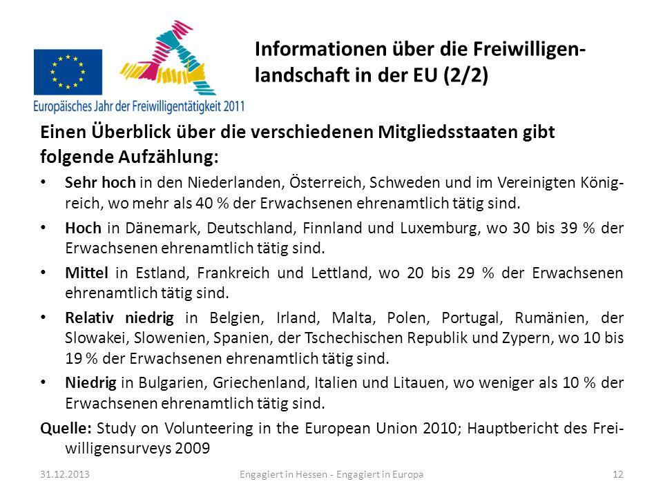 Informationen über die Freiwilligen-landschaft in der EU (2/2)