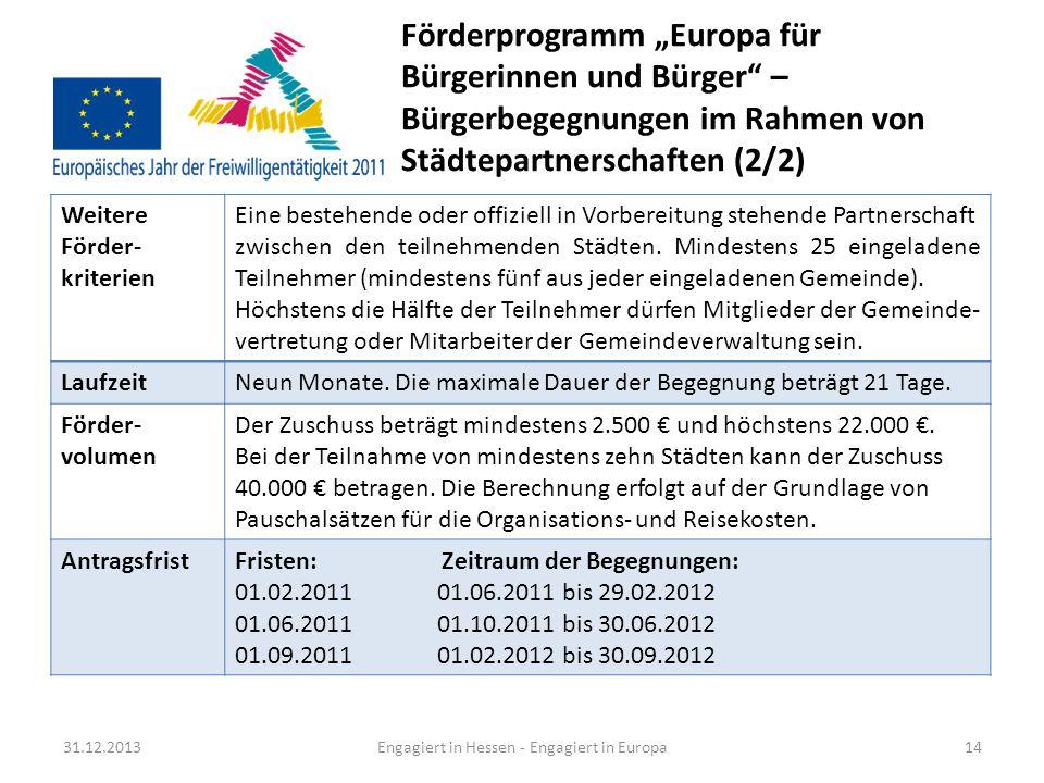 Engagiert in Hessen - Engagiert in Europa