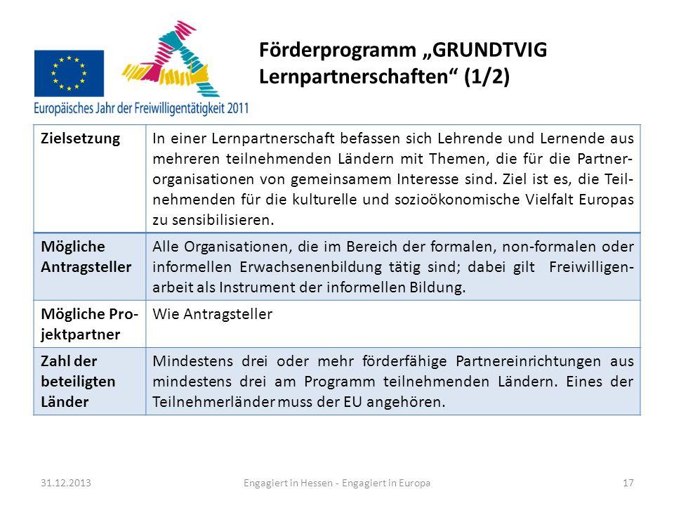 "Förderprogramm ""GRUNDTVIG Lernpartnerschaften (1/2)"