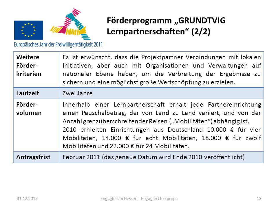 "Förderprogramm ""GRUNDTVIG Lernpartnerschaften (2/2)"