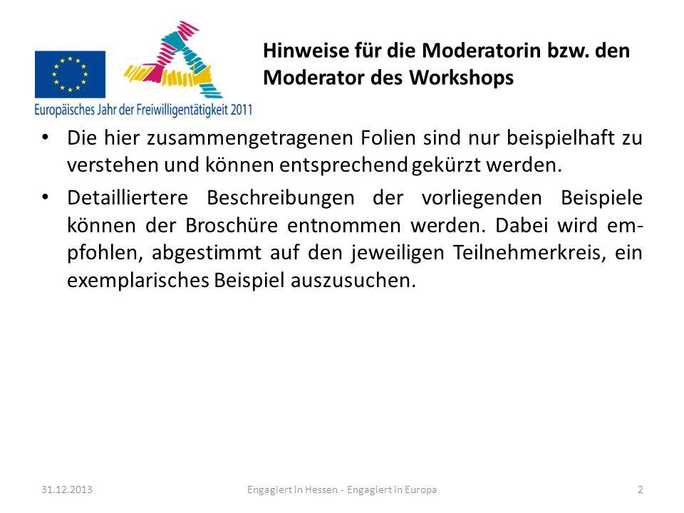 Hinweise für die Moderatorin bzw. den Moderator des Workshops