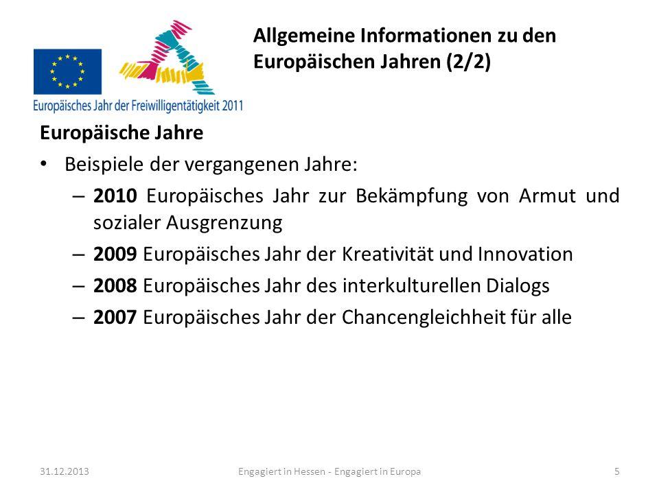 Allgemeine Informationen zu den Europäischen Jahren (2/2)