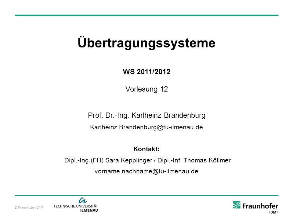 Übertragungssysteme WS 2011/2012 Vorlesung 12