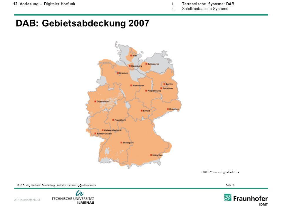 DAB: Gebietsabdeckung 2007