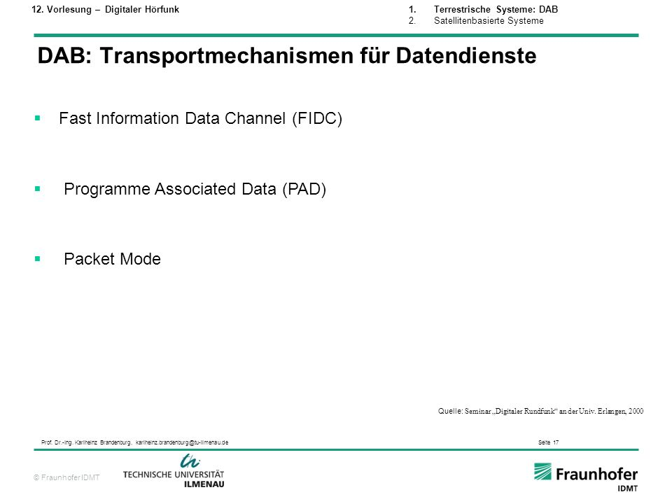 DAB: Transportmechanismen für Datendienste