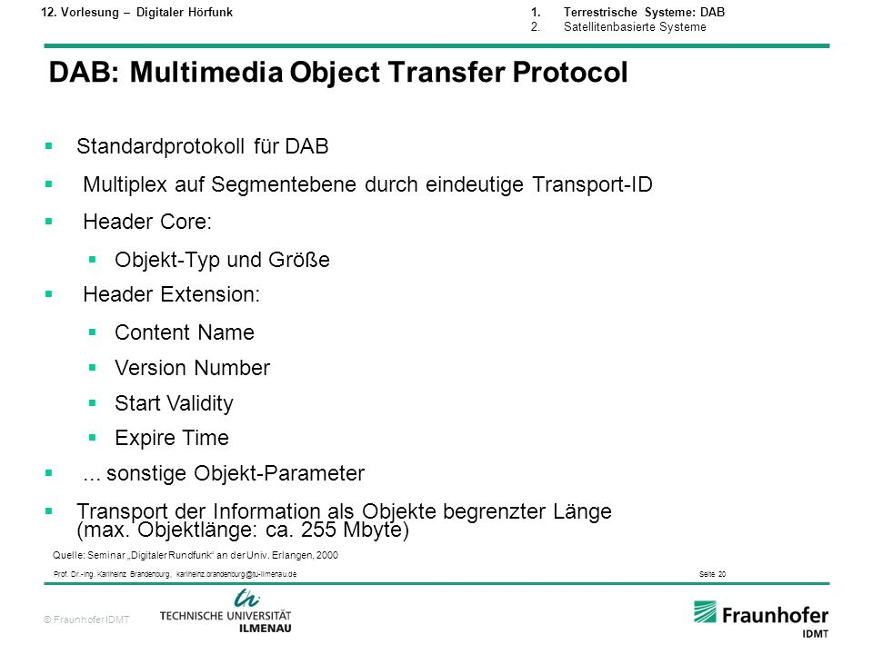 DAB: Multimedia Object Transfer Protocol