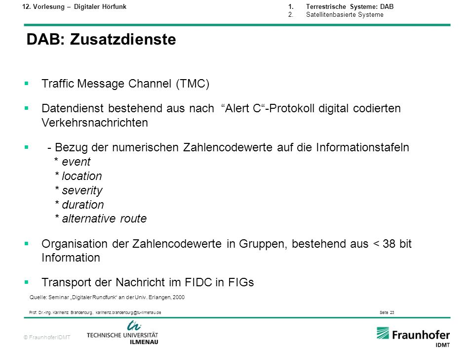 DAB: Zusatzdienste Traffic Message Channel (TMC)