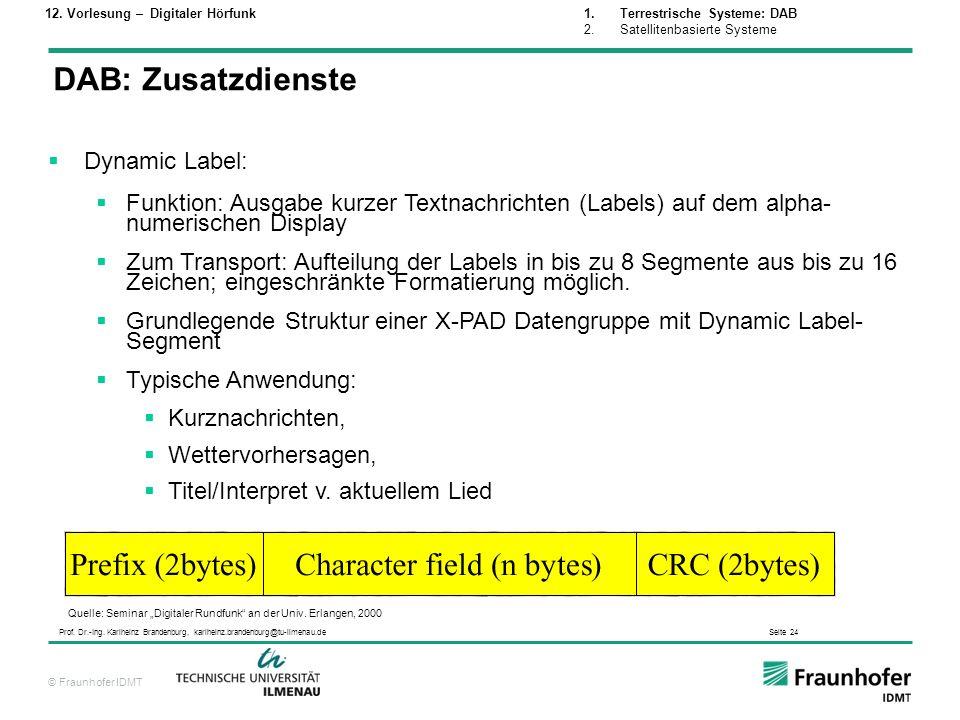 DAB: Zusatzdienste Dynamic Label: