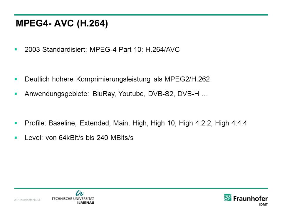 MPEG4- AVC (H.264) 2003 Standardisiert: MPEG-4 Part 10: H.264/AVC