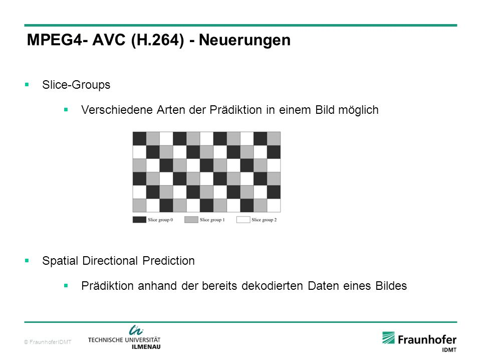 MPEG4- AVC (H.264) - Neuerungen