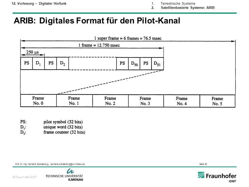 ARIB: Digitales Format für den Pilot-Kanal