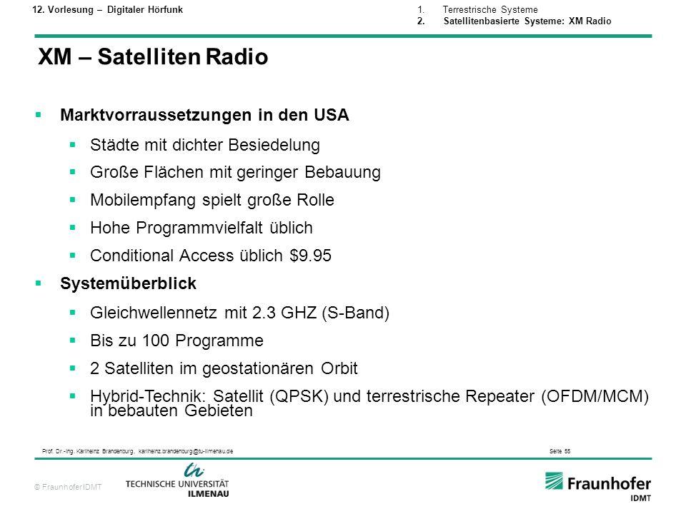 XM – Satelliten Radio Marktvorraussetzungen in den USA
