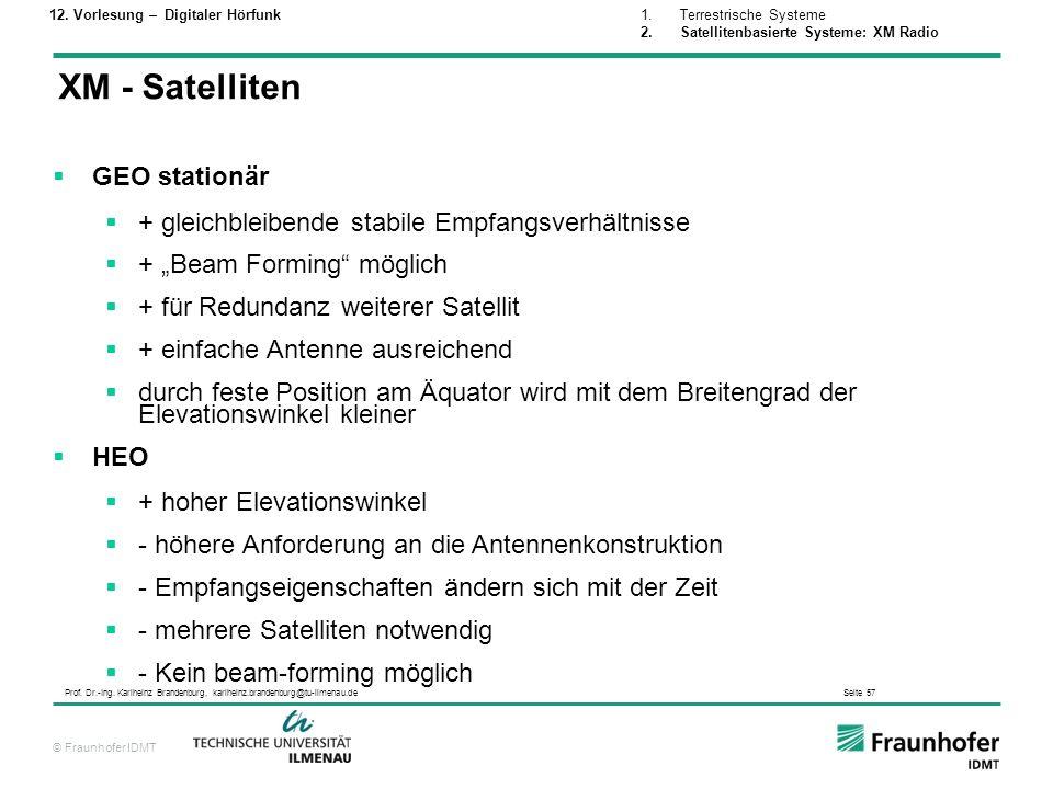 XM - Satelliten GEO stationär