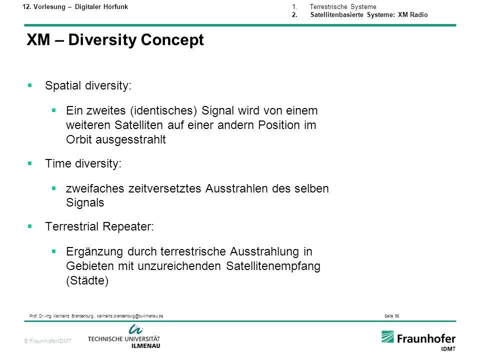 XM – Diversity Concept Spatial diversity: