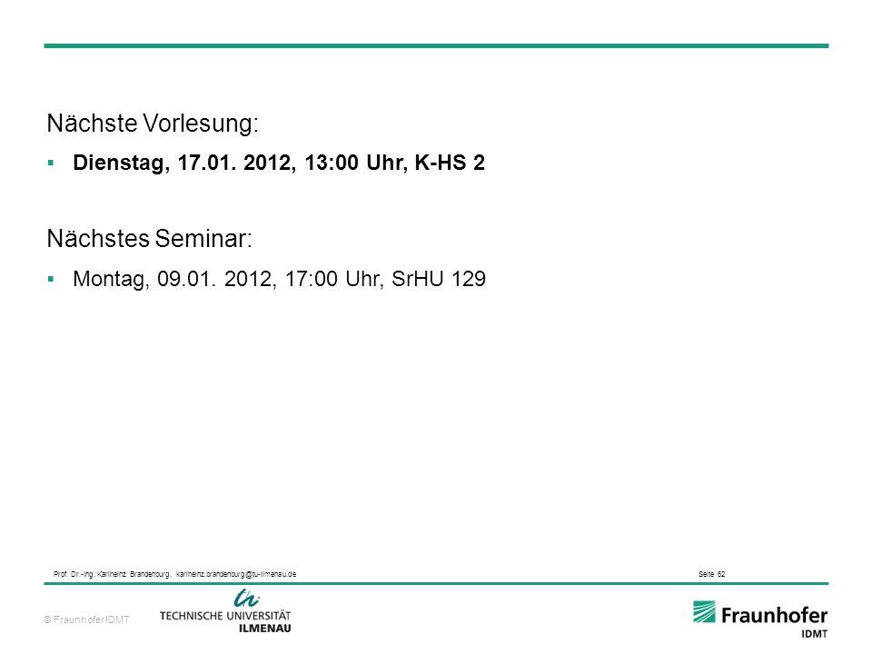 Nächste Vorlesung: Nächstes Seminar:
