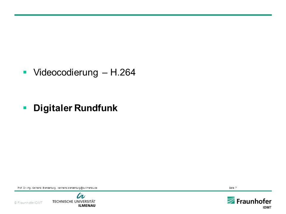 Videocodierung – H.264 Digitaler Rundfunk