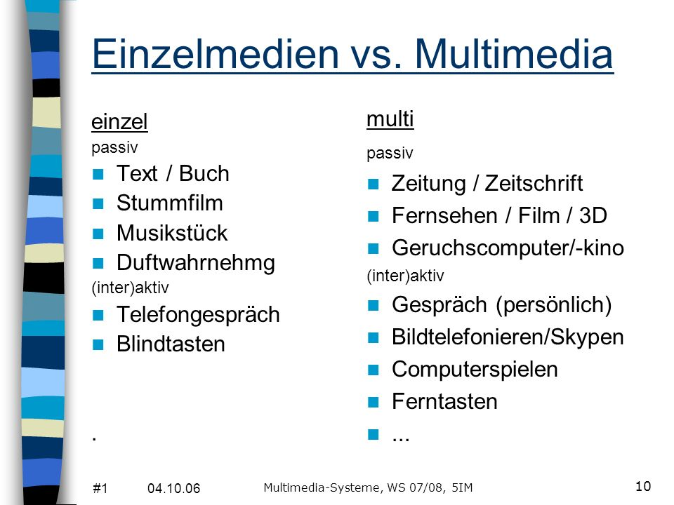 Einzelmedien vs. Multimedia