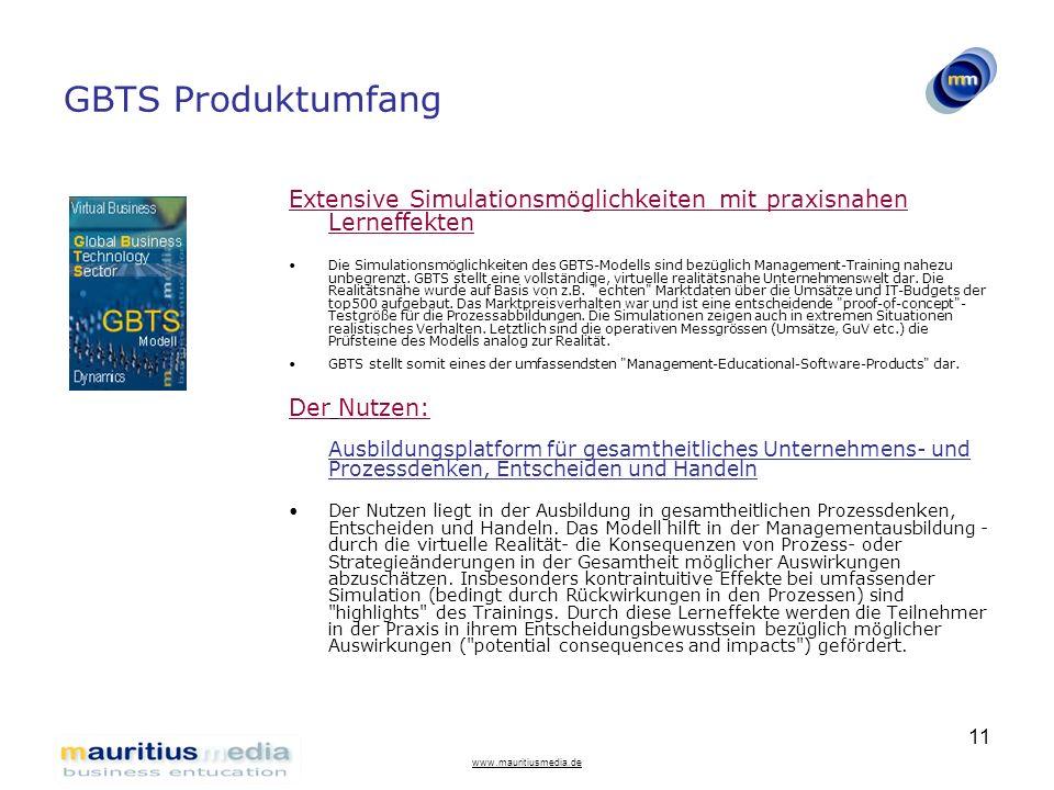 GBTS Produktumfang Extensive Simulationsmöglichkeiten mit praxisnahen Lerneffekten.