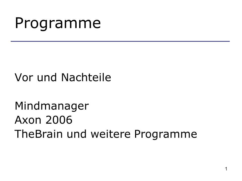 Programme Vor und Nachteile Mindmanager Axon 2006