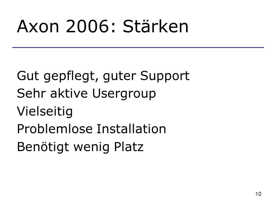 Axon 2006: Stärken Gut gepflegt, guter Support Sehr aktive Usergroup