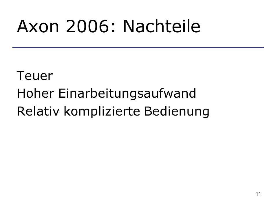 Axon 2006: Nachteile Teuer Hoher Einarbeitungsaufwand