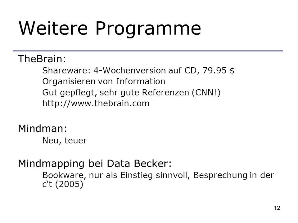 Weitere Programme TheBrain: Mindman: Mindmapping bei Data Becker: