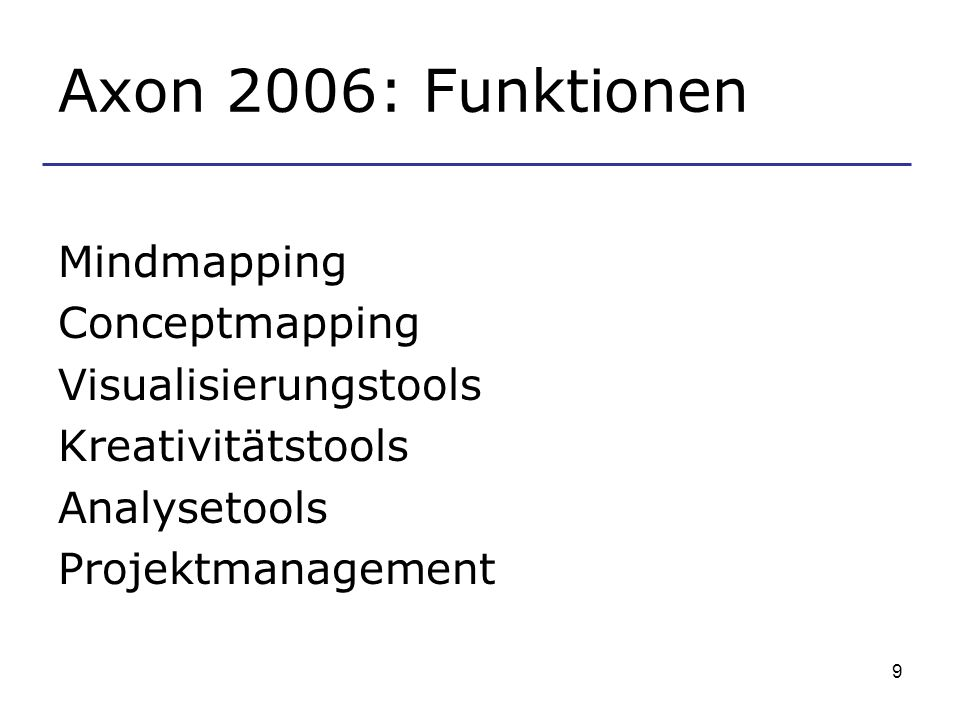 Axon 2006: Funktionen Mindmapping Conceptmapping Visualisierungstools