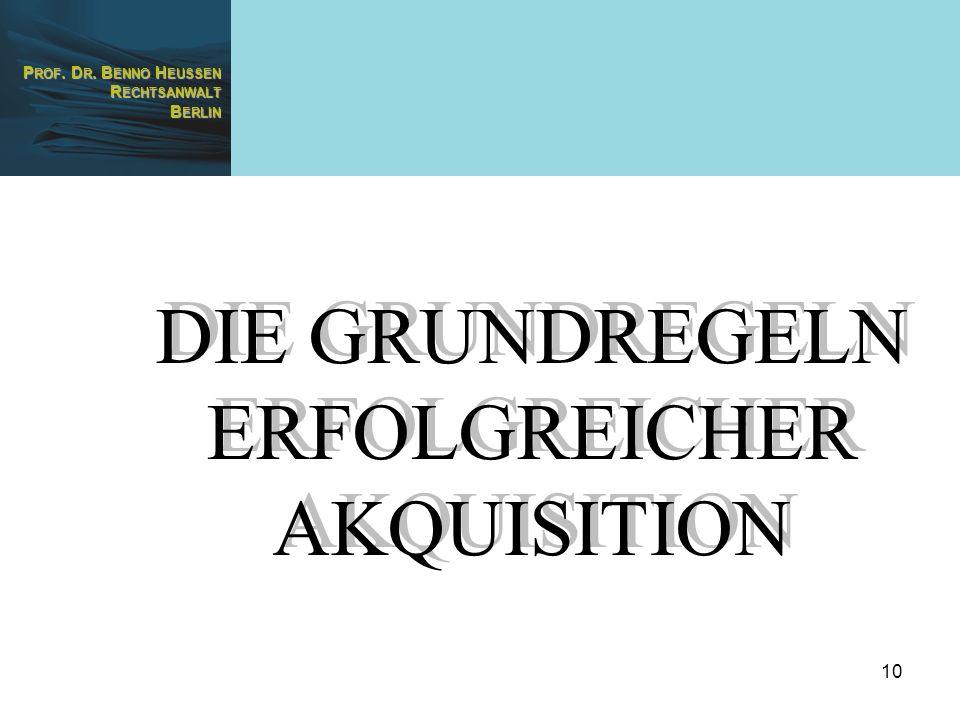 DIE GRUNDREGELN ERFOLGREICHER AKQUISITION