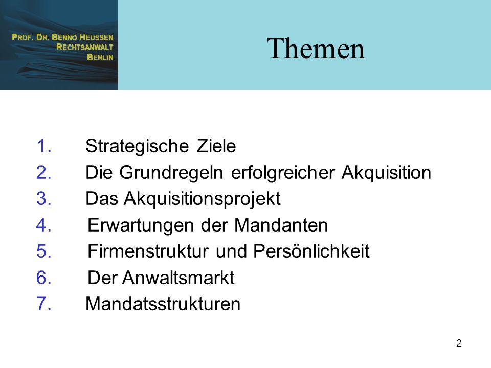 Themen Strategische Ziele Die Grundregeln erfolgreicher Akquisition