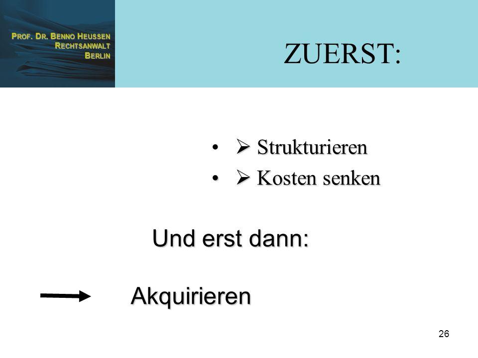 ZUERST:  Strukturieren  Kosten senken Und erst dann: Akquirieren
