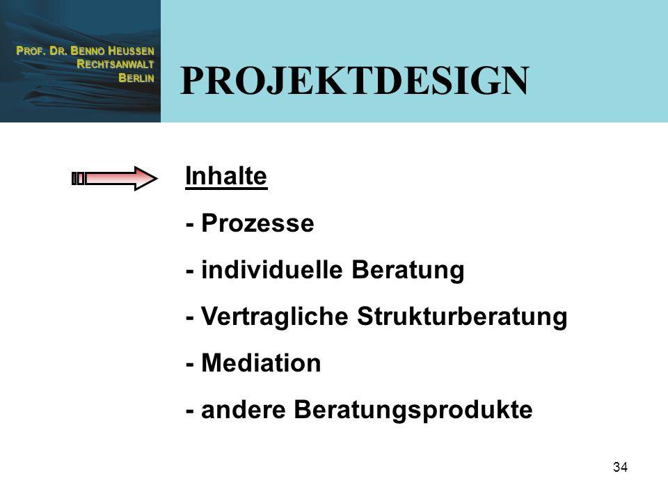 PROJEKTDESIGN Inhalte - Prozesse - individuelle Beratung