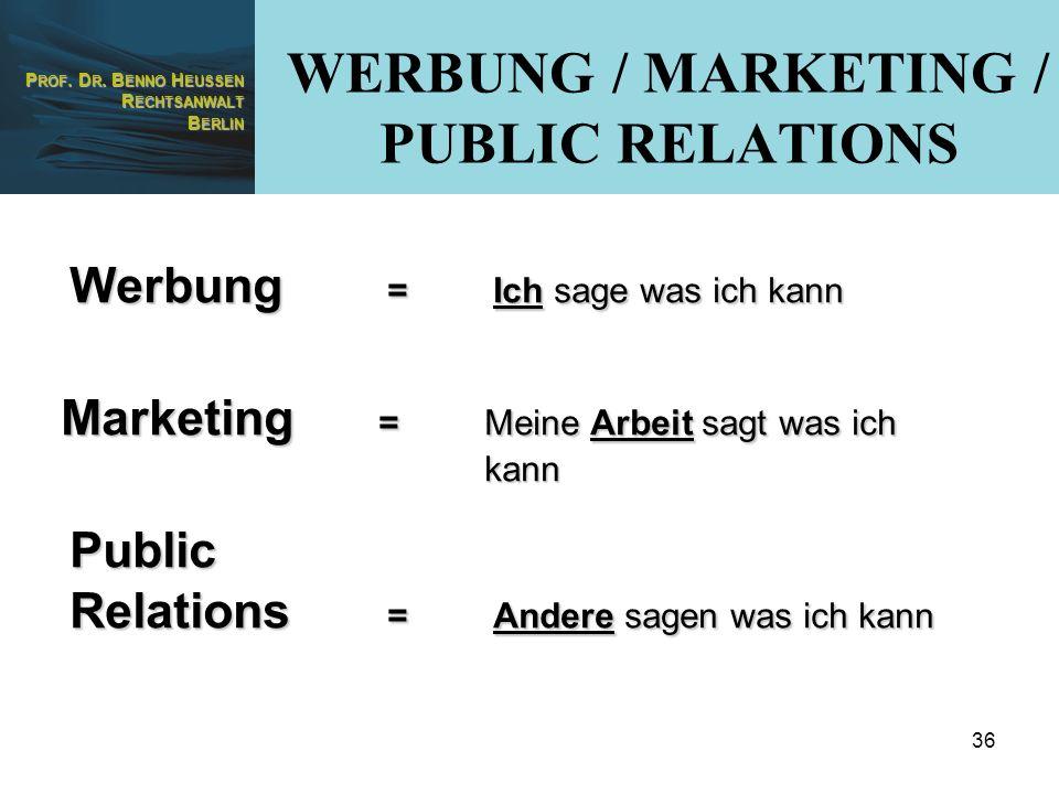 WERBUNG / MARKETING / PUBLIC RELATIONS