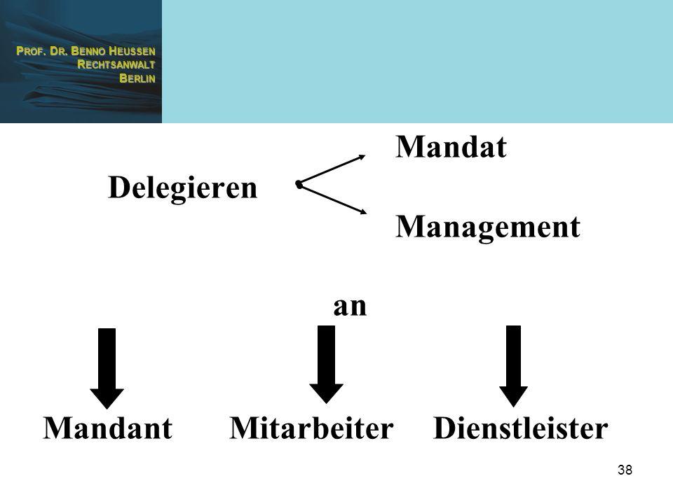 Mandat Delegieren Management an Mandant Mitarbeiter Dienstleister