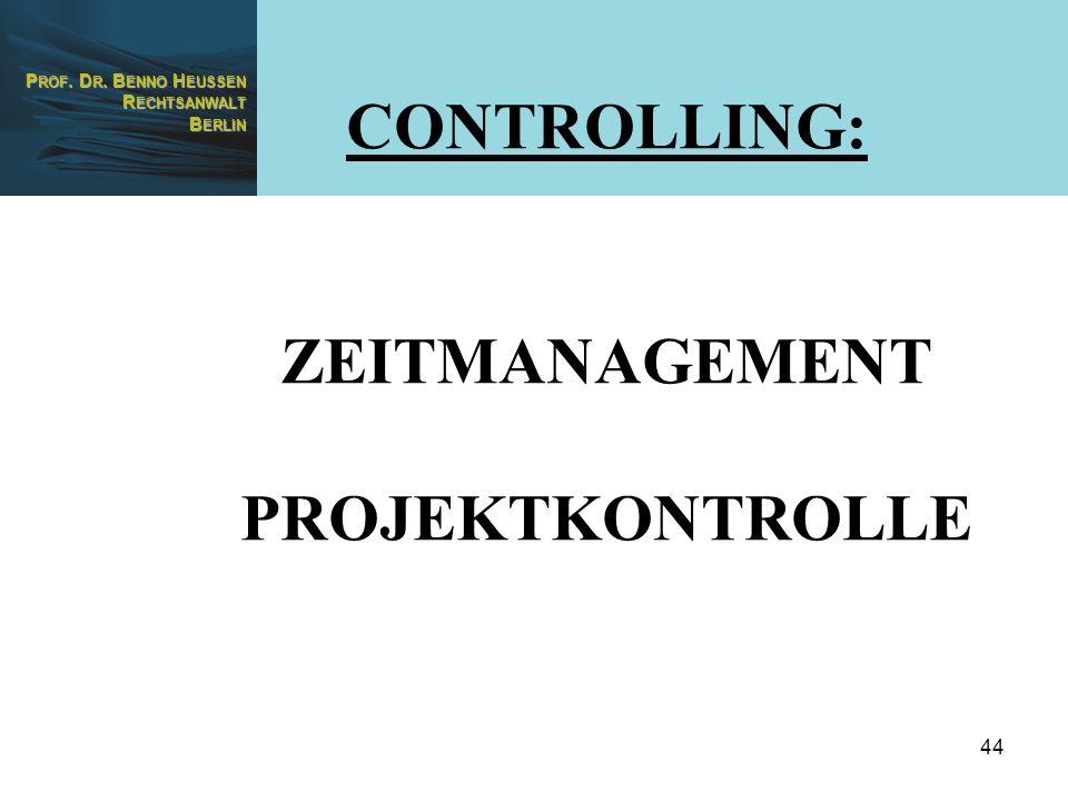 CONTROLLING: ZEITMANAGEMENT PROJEKTKONTROLLE