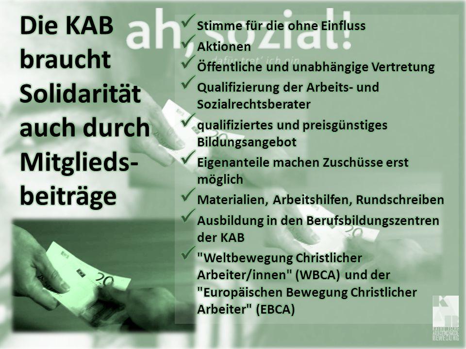 Die KAB braucht Solidarität auch durch Mitglieds-beiträge