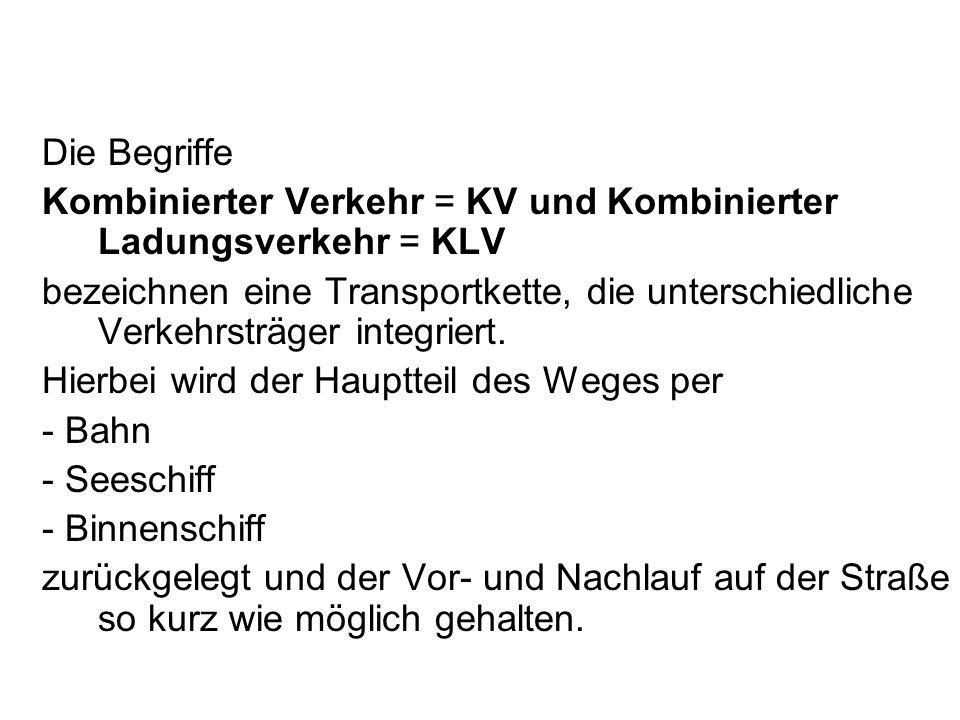 Die Begriffe Kombinierter Verkehr = KV und Kombinierter Ladungsverkehr = KLV.