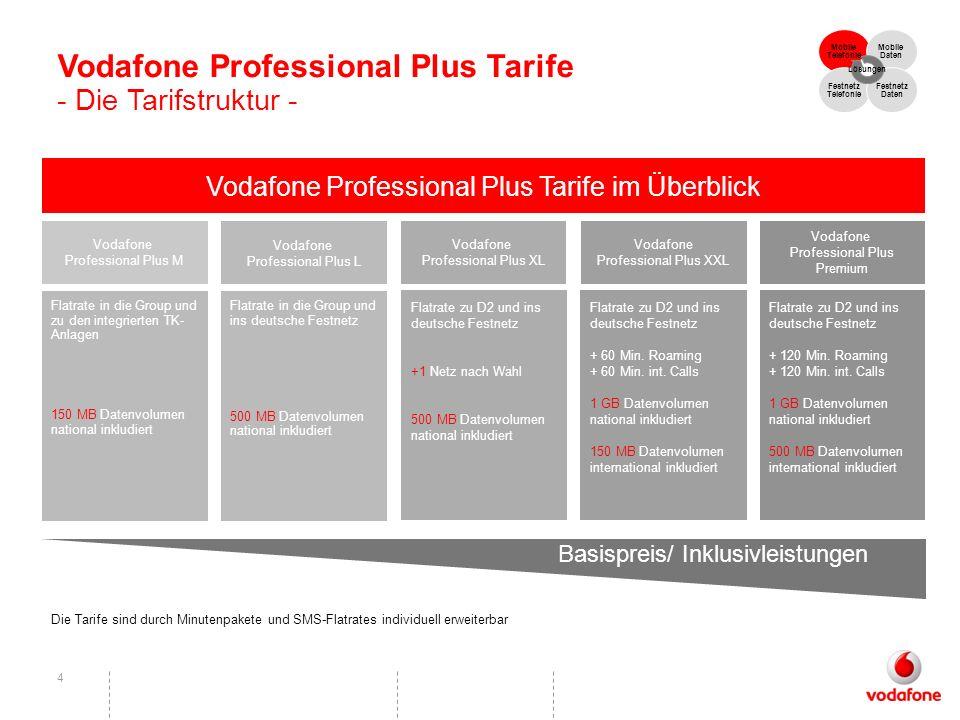 Vodafone Professional Plus Tarife - Die Tarifstruktur -