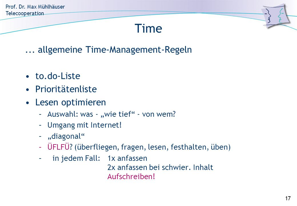 Time ... allgemeine Time-Management-Regeln to.do-Liste