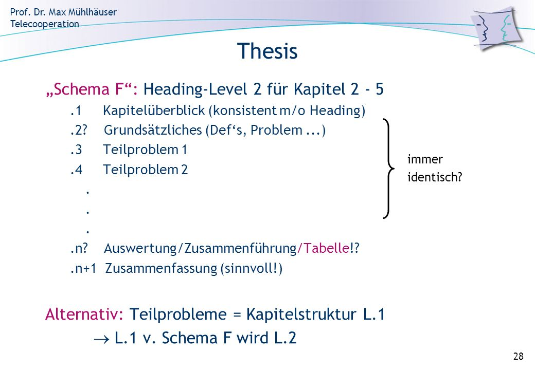 "Thesis ""Schema F : Heading-Level 2 für Kapitel 2 - 5"