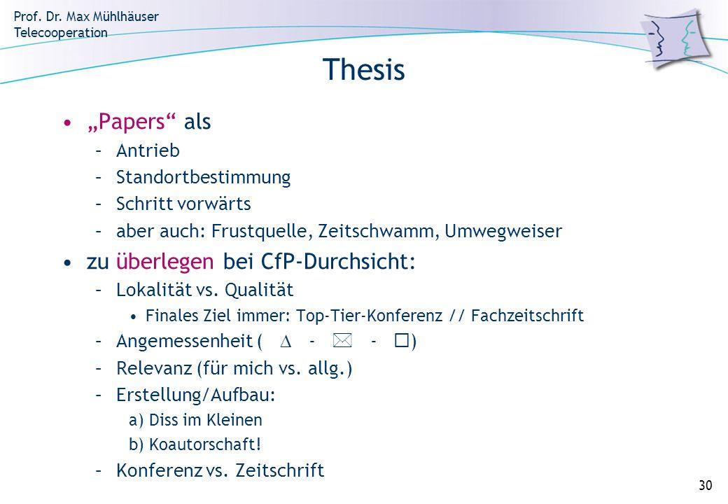 """Thesis """"Papers als zu überlegen bei CfP-Durchsicht: Antrieb"""