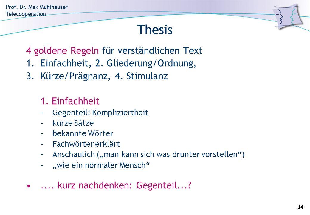Thesis 4 goldene Regeln für verständlichen Text