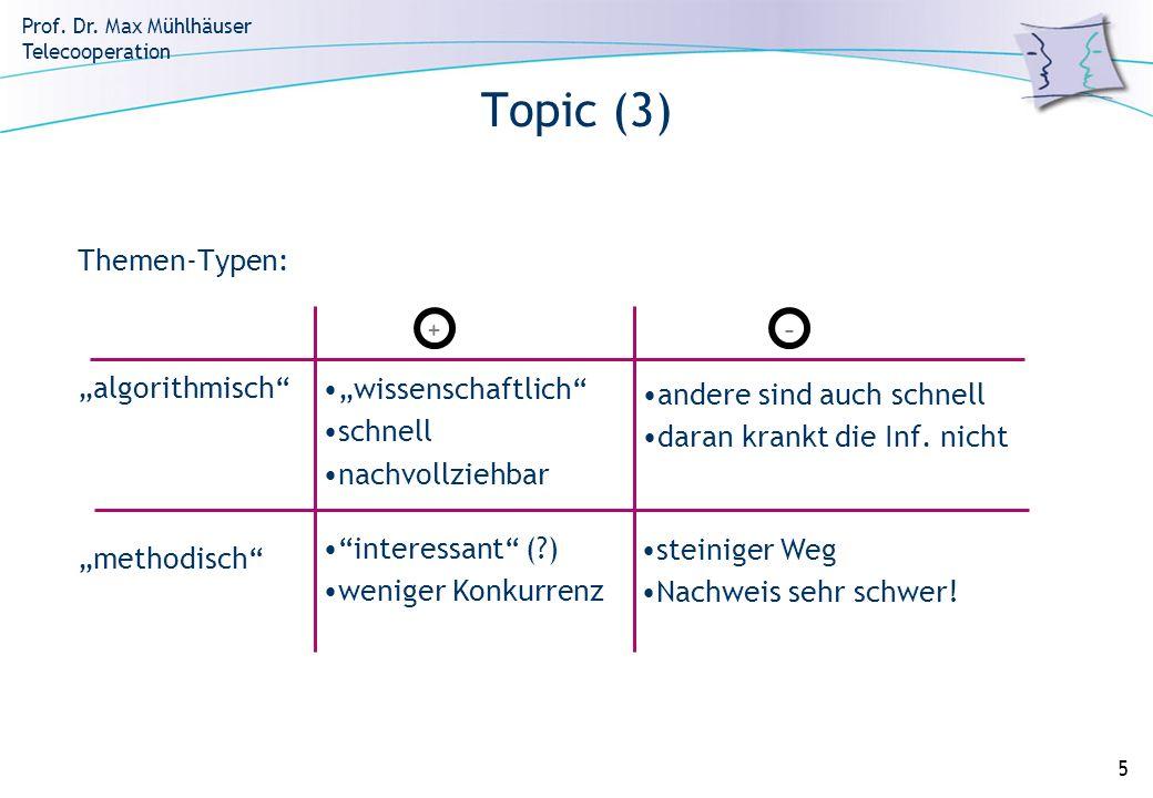 """Topic (3) Themen-Typen: """"algorithmisch """"methodisch"""