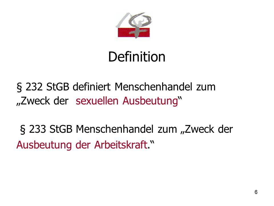 Definition § 232 StGB definiert Menschenhandel zum