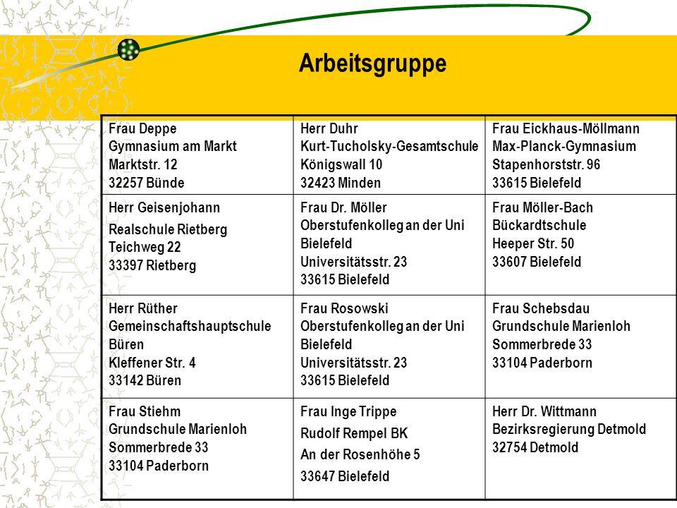 Arbeitsgruppe Frau Deppe Gymnasium am Markt Marktstr. 12 32257 Bünde